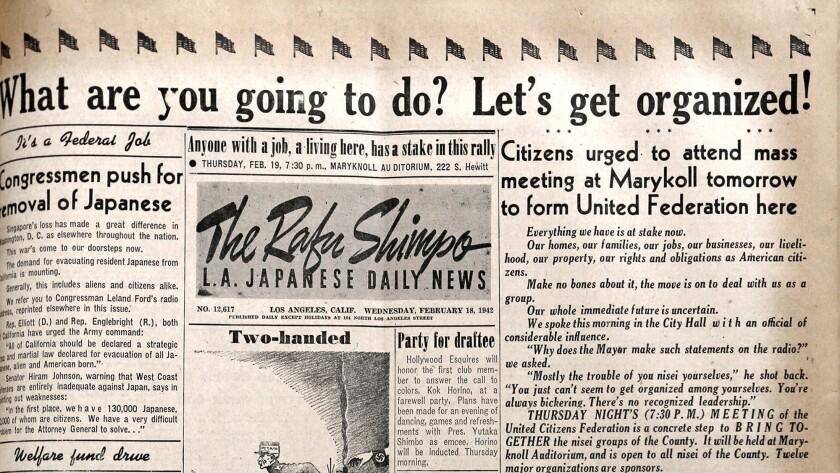 A copy of the Rafu Shimpo newspaper's Feb. 18, 1942 edition.