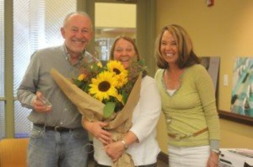Incoming Friends of La Jolla Library Board President Bill Boehm with outgoing President Susan Middleton and incoming Vice-President Sallie Warren. Ashley Mackin