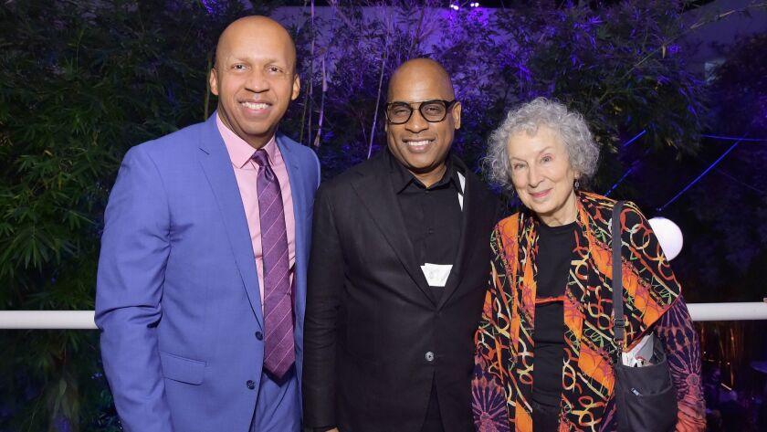 Bryan Stevenson, left, Glenn Ligon, and Margaret Atwood attend the Hammer Museum 16th Annual Gala in the Garden.