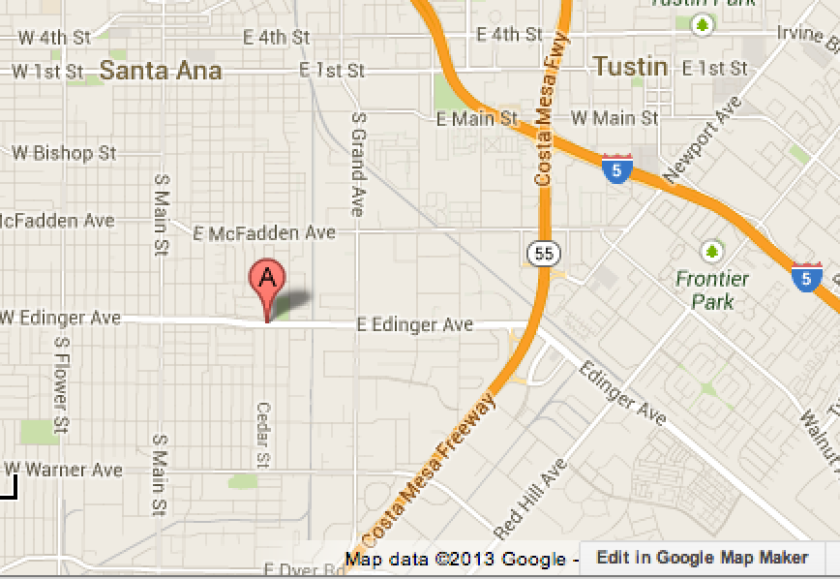Map shows the area where a police pursuit began in Santa Ana in which five people were injured Wednesday night.