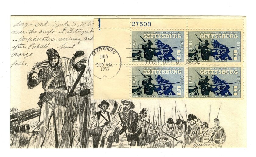 Fifty years ago, Roy Gjertson won a U.S. Post Office Department competition to design the stamp marking the 100th anniversary of the battle of Gettysburg.