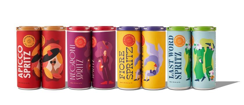 Straightaway spritzers, from left: Apicco Spritz, Negroni Sprtiz, Fiore Spritz and Last Word Spritz.