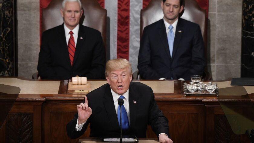 President Trump delivers his first State of the Union address before a joint session of Congress on Capitol Hill on Jan. 30, 2018.