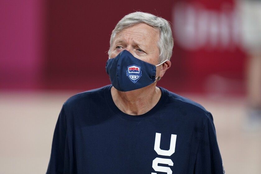 United States assistant coach Dan Hughes looks on during a women's basketball practice at the 2020 Summer Olympics, Saturday, July 24, 2021, in Saitama, Japan. (AP Photo/Charlie Neibergall)