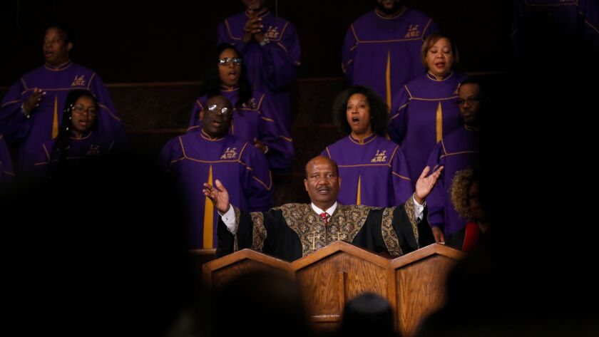 The Rev. J. Edgar Boyd speaks during the service on Sunday at First African Methodist Episcopal Church in Los Angeles.