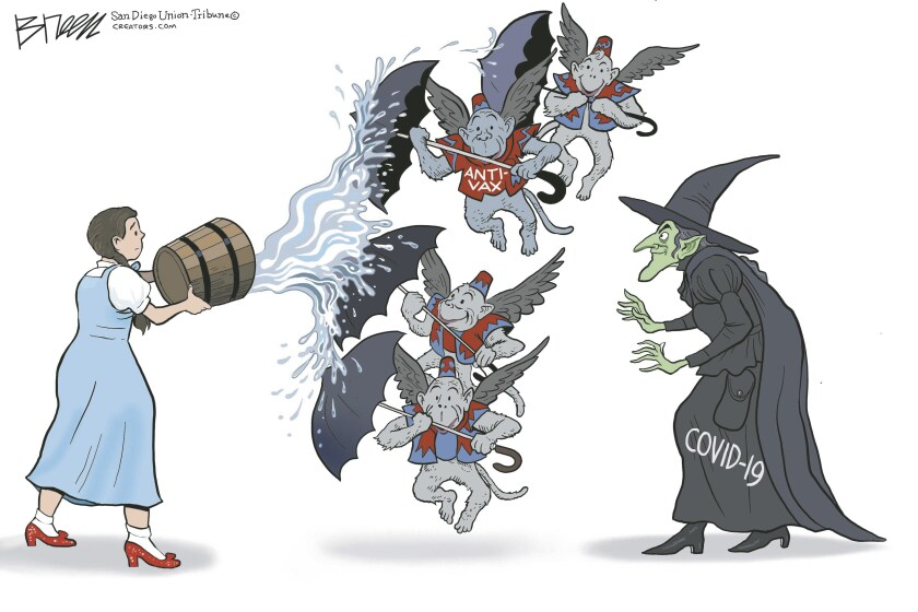 Anti-vax flying monkeys thwart attempts to kill the COVID witch in this Breen cartoon