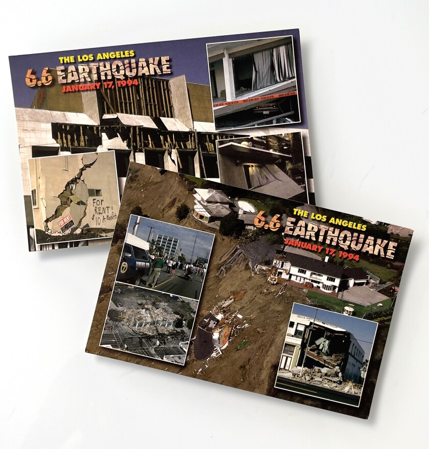Postcards show some of the damage from the 1994 Northridge earthquake