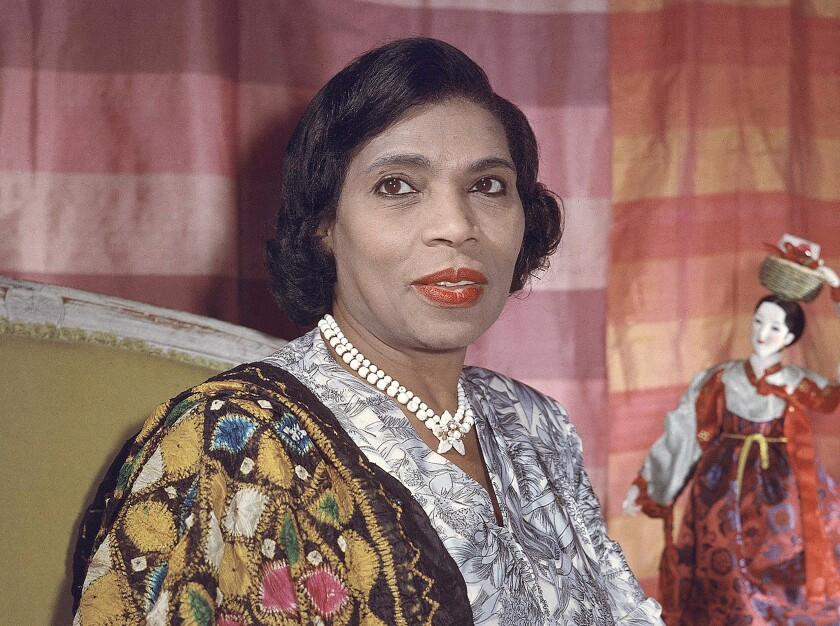 FILE - Singer Marian Anderson, a member of the U.S. delegation to the United Nations, appears in her New York apartment on Aug. 5, 1958. Sony Classical, which owns the Victor archive, has put together a digitally remastered 15-CD set that spans her career from 1924 to 1966. (AP Photo, File)