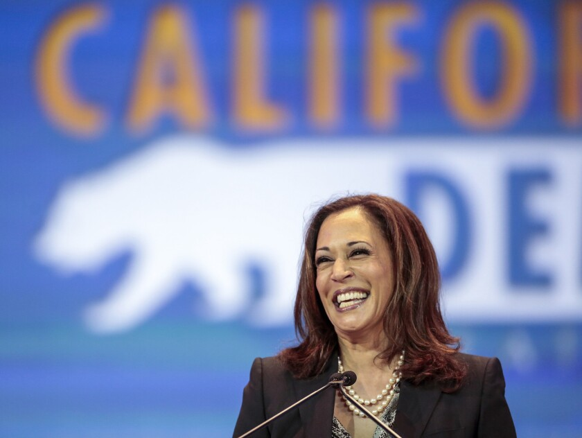 Atty. Gen. Kamala Harris speaking at the California Democratic Party convention in Anaheim on May 16.
