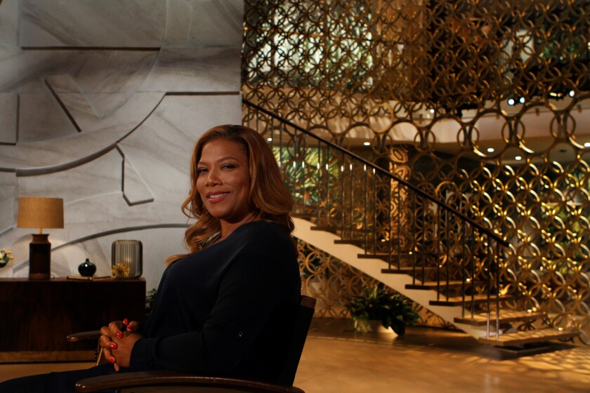 Queen Latifah on the set of her talk show in Culver City.