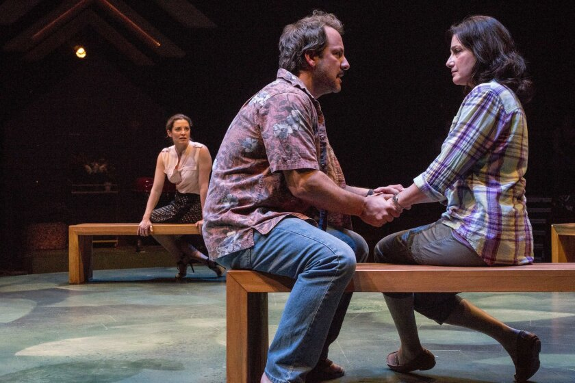 """Paige Lindsey White (left rear), Shawn Law and Sandy Campbell in San Diego Rep's """"Rapture, Blister, Burn."""""""