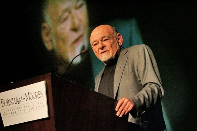 Sam Zell, Tribune Co. owner and a longtime commercial real estate investor, spoke at the Hilton San Diego Bayfront yesterday at a conference sponsored by the Burnham-Moores Center for Real Estate.