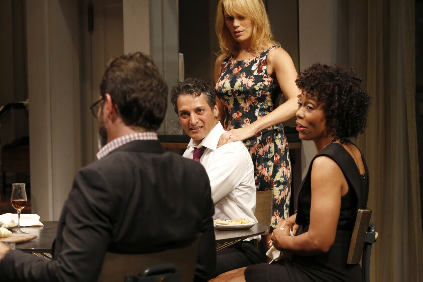 """A dress rehearsal for """"Disgraced"""" at the Mark Taper Forum, with cast members, left to right, J Anthony Crane (Isaac), Hari Dillon (Amir), Emily Swallow (Emily) and Karen Pittman (Jory)."""