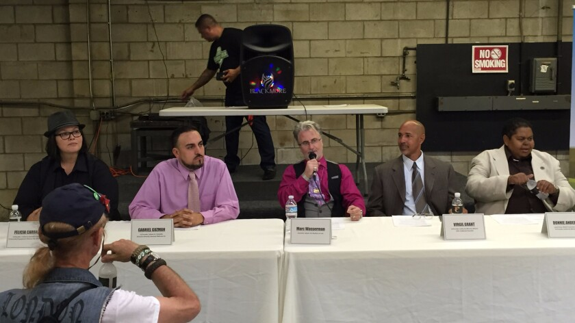 In Gardena, cannabis experts and activists discuss legalization. From left, cannabis educator Felicia Carbajal, Latinos for Cannabis founder Gabriel Guzman, attorney  Marc Wasserman, California Minority Alliance co-founder Virgil Grant; and Donnie Anderson of the NAACP