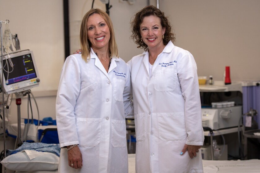 Dr. Alissa Speziale, gastroenterologist, and Dr. Lee Remington-Boone, family physician, who developed rectal cancer at 48.