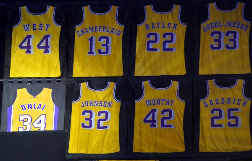 info for b13ba a6d40 Lakers acknowledge error in Shaquille O'Neal's retired ...