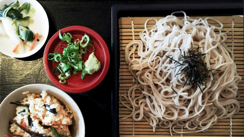 The zaru soba at Ichimi Ann in Torrance is a heap of fresh buckwheat noodles simply flavored with toasted nori.