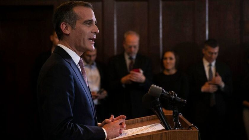 Los Angeles Mayor Eric Garcetti speaks during a news conference on Jan. 29, 2019, at City Hall.