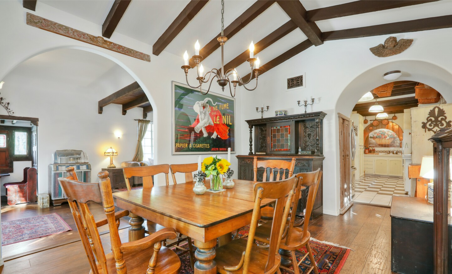 Built in 1928, the charming abode stays in touch with its Spanish roots with arched doorways, beamed ceilings and Saltillo tile.