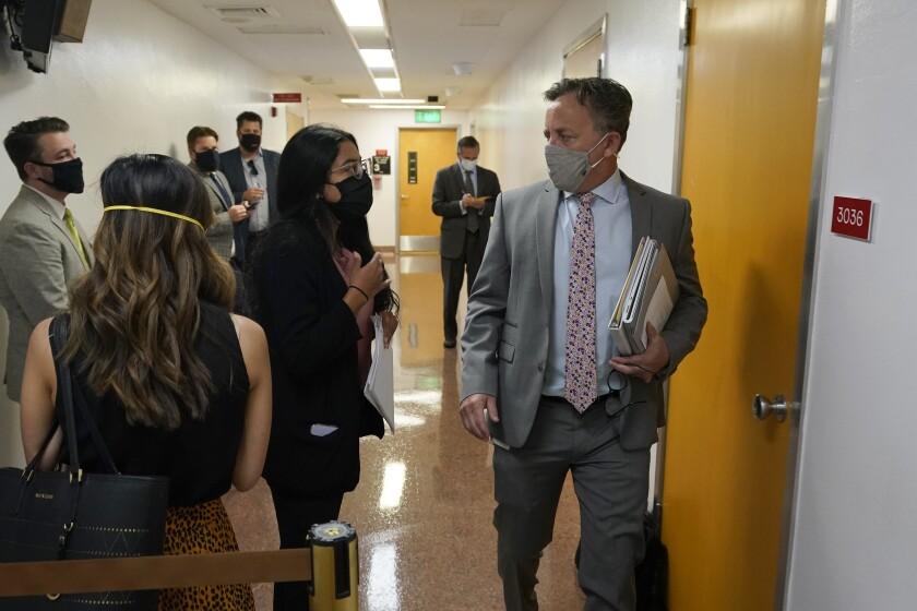 Democratic State Sen. Josh Newman, of Fullerton, greets lobbyists and activists.