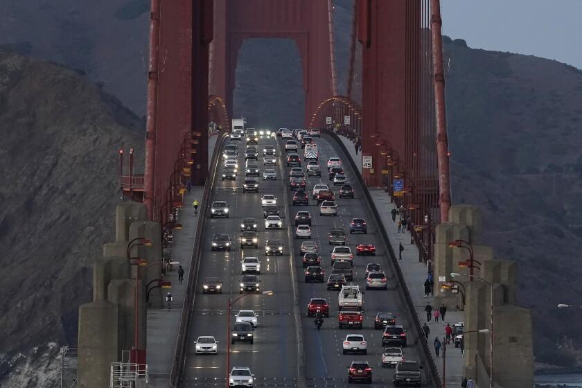 Traffic moves on the Golden Gate Bridge in San Francisco on Nov. 12, 2020.