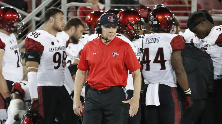 San Diego State coach Rocky Long is in his eighth season as head coach of the Aztecs. He has compiled a 67-30 record at SDSU, ranking second only to Don Coryell (104-19-2) in victories at the school.