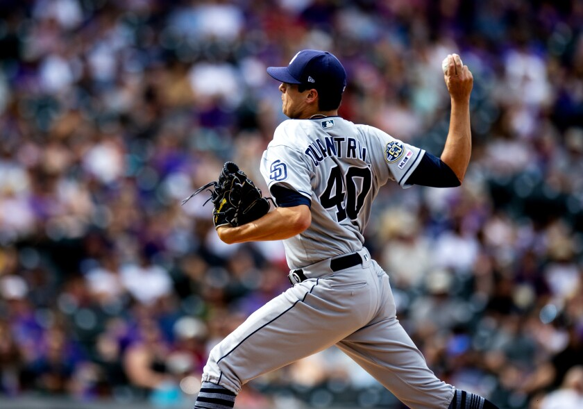Cal Quantrill was the losing pitcher for the Padres on Sunday against the Colorado Rockies at Coors Field.