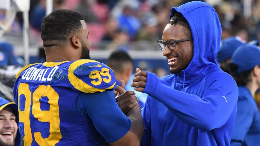 LOS ANGLELES, CA. DECEMBER 30, 2018-Rams Aaron Donald and Todd Gurley share a laugh near the end of