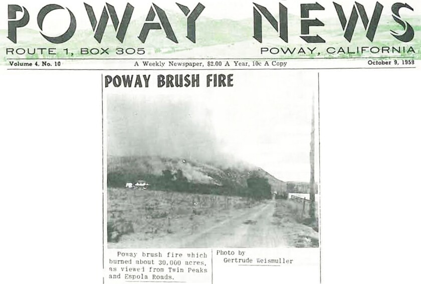 The brush fire was on the front page of the Oct. 3, 1958, Poway Chieftain.