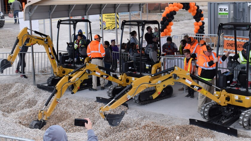 Kids play on real diggers and dozers in this giant Las Vegas sandbox