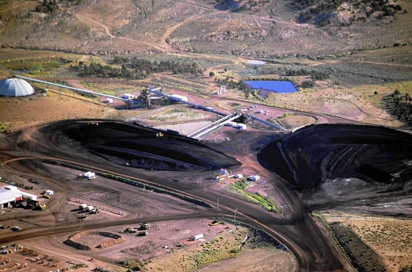 An aerial overview of the Peabody Energy Black Mesa Coal Mine on the Hopi Reservation where the coal mining giant pumps water from an ancient aquifer beneath Hopi and Navajo lands for a slurry pipeline that the locals charge is sapping their water supply and contributing to a drought.