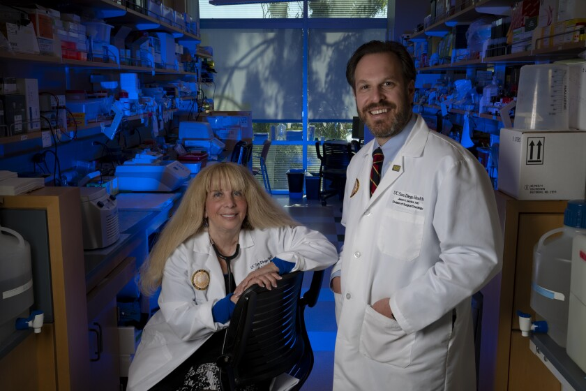Dr. Razelle Kurzrock and Dr. Jason Sicklick of UCSD Moores Cancer Center in La Jolla. The two conducted a cancer treatment study that finds better results in advance cancers when patients get several drugs at once that target tumor mutations.