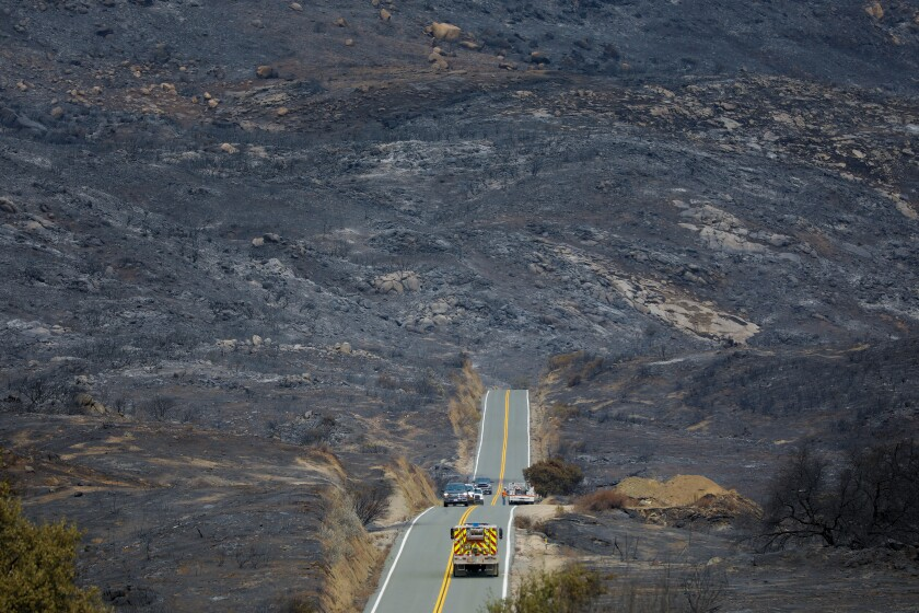 Much of the surrounding area around Lyons Valley Road has been burned during the Valley fire that began on Saturday.