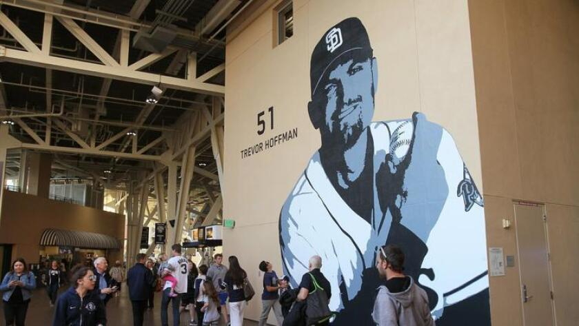 A large mural of Padre great Trevor Hoffman is displayed on a wall of the Stadium Concourse. (Charlie Neuman / San Diego Union-Tribune)