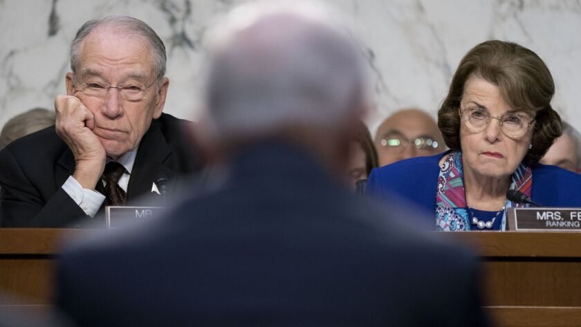 Senate Judiciary Committee Chairman Charles E. Grassley, left, sharply criticized Sen. Dianne Feinstein's decision to release testimony from the co-founder of Fusion GPS.