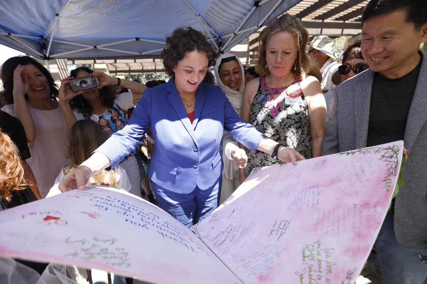Rep. Katie Porter (D-Irvine) in Tustin in early August.