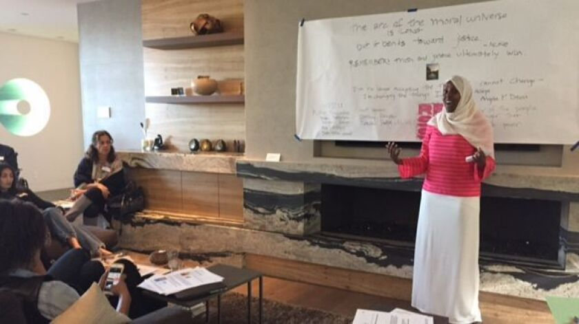 Ramla Sahid, executive director of Partnership for the Advancement of New Americans (PANA), speaks at the first Solidarity Sunday San Diego Coastal Chapter meeting, Feb. 12.