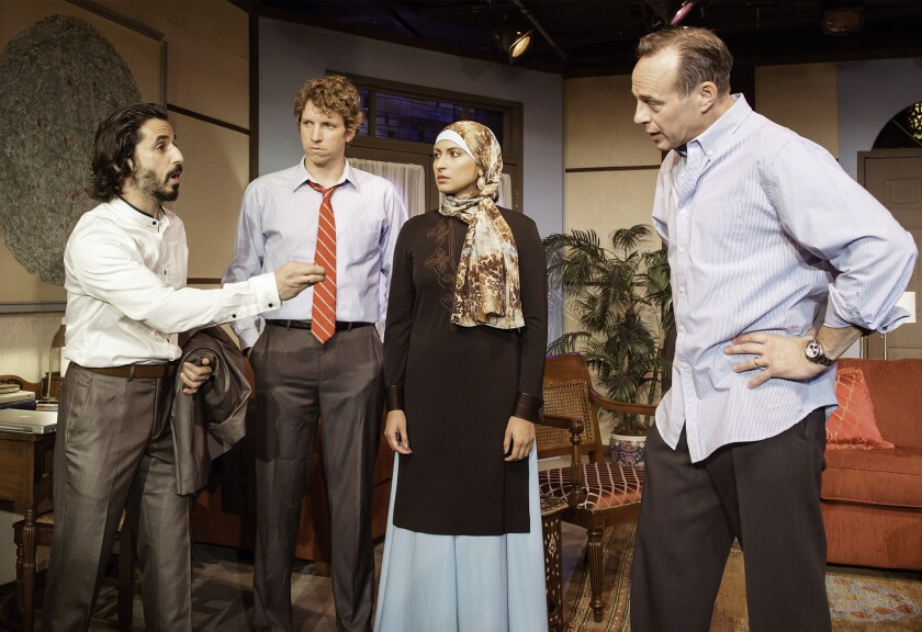 "Ryan P. Shrime, Gregory Hoyt, Zehra Fazal, and Tim Meinelschmidt in ""The Engine of Our Ruin"""