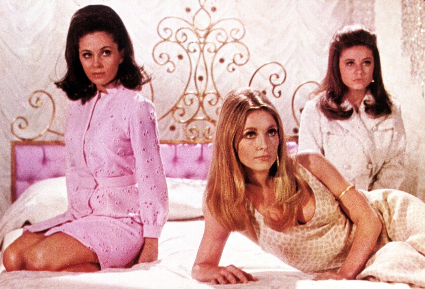 """Barbara Parkins, Sharon Tate, and Patty Duke in Valley of the Dolls"""" from 1967."""