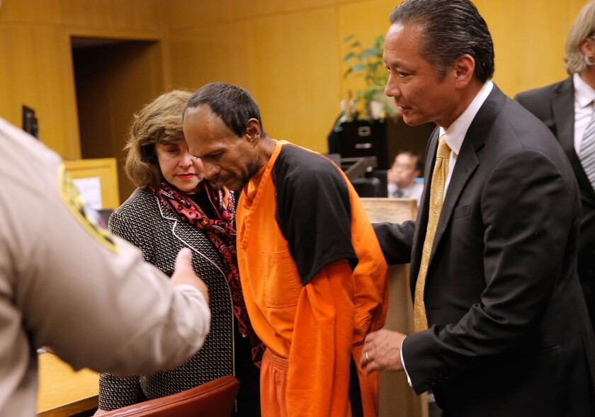 Juan Francisco Lopez-Sanchez is led from a courtroom in San Francisco after pleading not guilty to murder in the fatal shooting of Kathryn Steinle, 32. Lopez-Sanchez is in the country illegally.