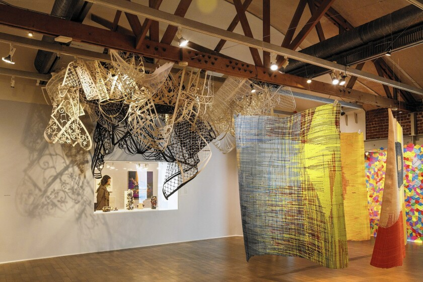 """The """"Paperworks"""" exhibition at the Craft and Folk Art Museum features sculptures, collages and large-scale installations by 15 contemporary artists working with paper in unusual ways."""