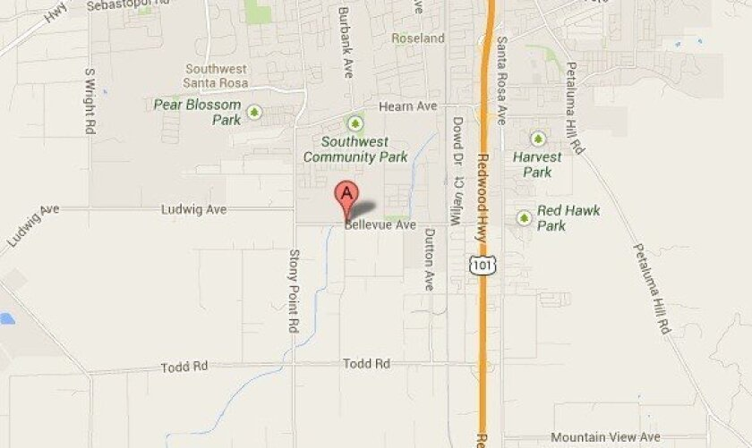 A map shows the approximate location of a school in Santa Rosa where a teacher was stabbed.