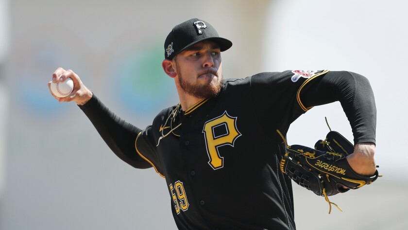 Joe Musgrove pitches during spring training last year for the Pirates.