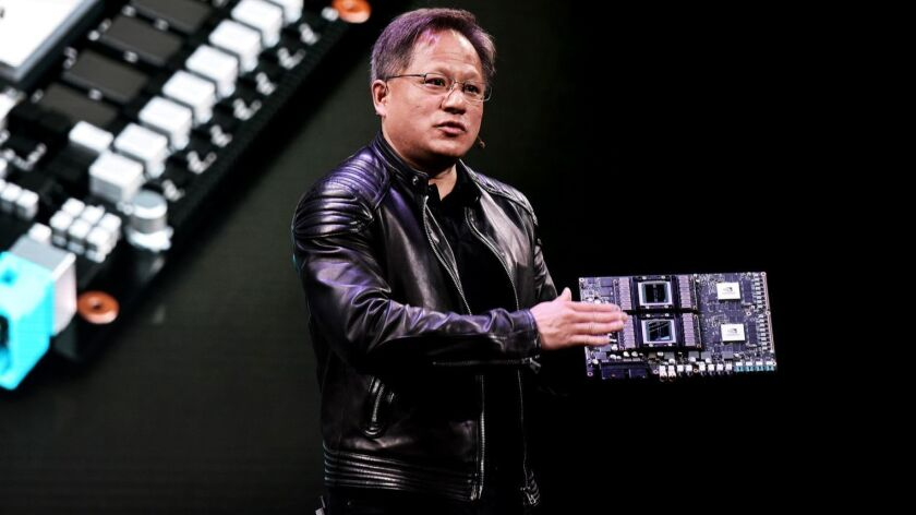 Nvidia CEO Jensen Huang, shown in 2018, built a multibillion-dollar business in less than three years by convincing data center owners that his graphics chips are the right tool for processing the huge amounts of information needed for artificial intelligence work.