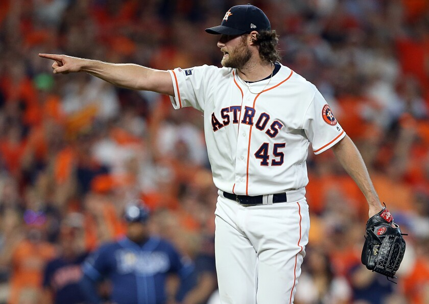Houston Astros starter Gerrit Cole gestures during Game 5 of the ALDS against the Tampa Bay Rays on Oct. 10.
