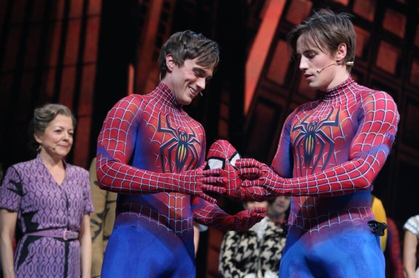 Reeve Carney, right, introduces Justin Matthew Sargent as Broadway's new Spider-Man at the Foxwoods Theatre in New York.