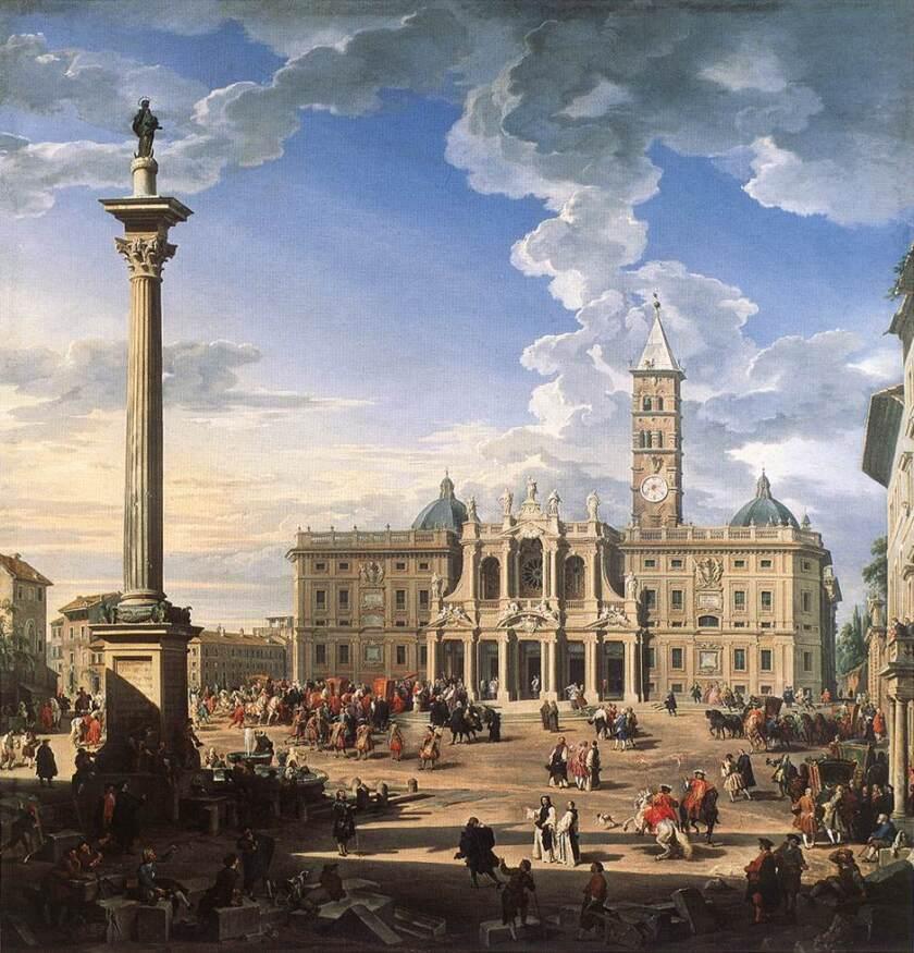 """Giovanni Paolo Panini, """"The Piazza and Church of Santa Maria Maggiore,"""" 1744, oil on canvas"""