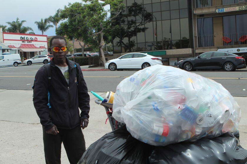 In an interview conducted on Pearl Street shortly after the nearby recycling center closed in August 2019, Vince Robertson said he was headed instead to Pacific Beach or Mission Beach to recycle.
