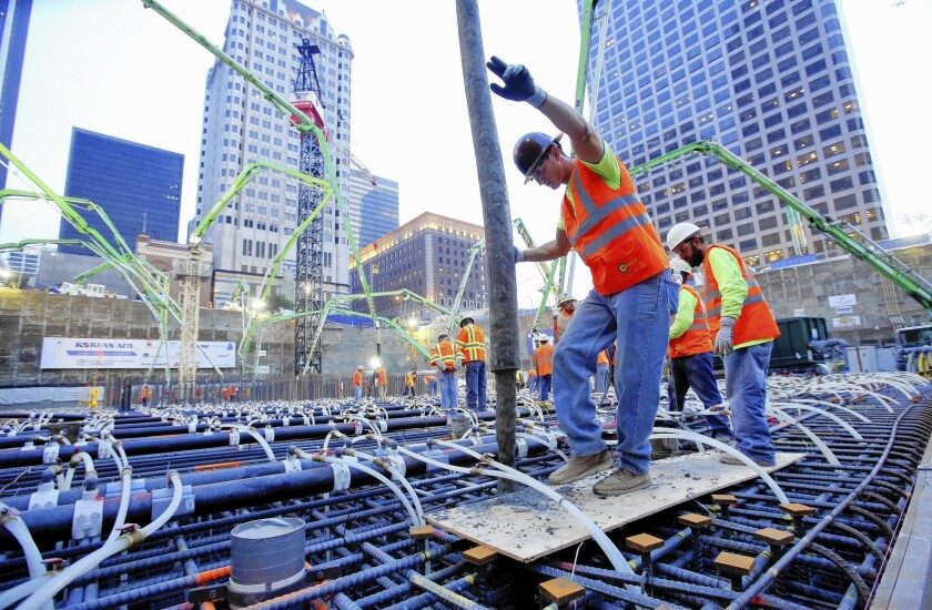 Work takes place on the Wilshire Grand, one of three downtown L.A. hotel projects for which the city has already committed more than $500 million.