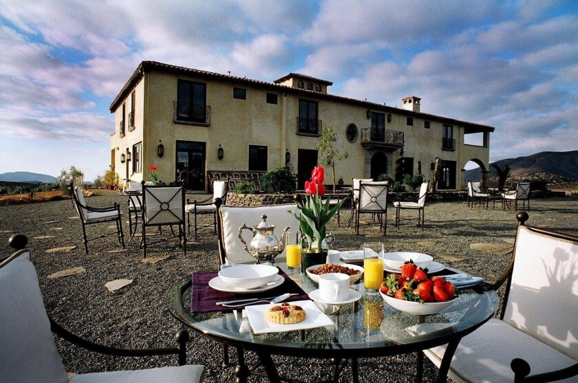 Breakfast al fresco at La Villa del Valle, a Tuscan villa with six guest rooms.